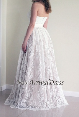 Sleeveless New Arrival A-line Sweetheart Simple Lace Long Sash Wedding Dresses_1