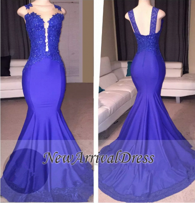 Straps Beads Appliques Mermaid Evening Gowns   Sleeveless Court-Train Prom Dresses Cheap_1