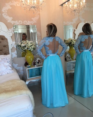 Long Sleeve Lace Evening Dress V-neck Blue Chiffon Prom Dress_4