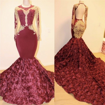 Open Back Gold Lace Burgundy Long Prom Dresses Cheap Plus Size | Mermaid Long Sleeve Formal Dresses for Juniors_3