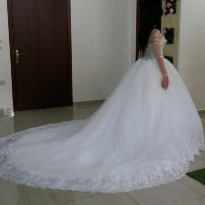Elegant Long Sleeve Cheap Online Crystals Tulle Ball Gown Wedding Dresses_3
