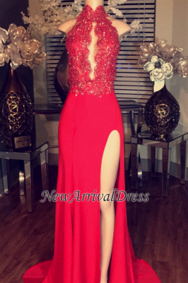 Chiffon High Neck Lace Appliques Red Prom Dresses | Side Split Sleeveless Evening Gowns BA5081_1