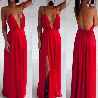 Sexy Red Spaghetti Straps Prom DressLong Deep V-Neck_3