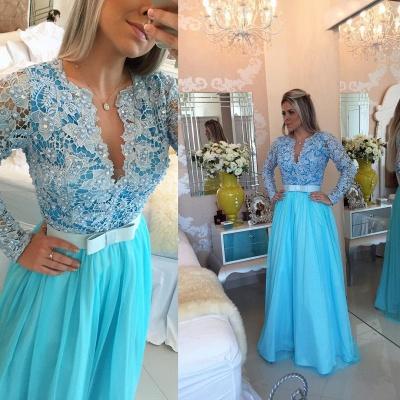 Long Sleeve Lace Evening Dress V-neck Blue Chiffon Prom Dress_3