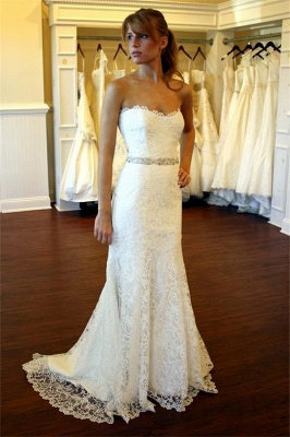 Simples Strapless Wedding Dresses Lace Cheap | Close-fitting Sexy Bridal Gowns with Crystalss Belt BA8083_1