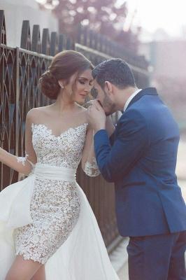 Long Sleeve Wedding Dress with Detachable Train Latest Short Lace Bridal Gown BA2363_1