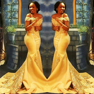 Off The Shoulder Yellow Sparkling Prom Dresses | Mermaid Beads Sequins Formal Gowns Cheap FB0335_3