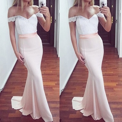 Newest Off-the-shoulder Lace Mermaid Sweep Train Prom Dress_3