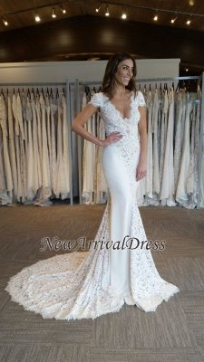 Court Train Lace Appliques V-Neck Elegant Cap Sleeves Mermaid Wedding Dresses Cheap Online_1