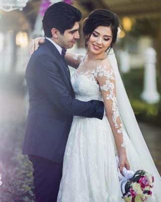 Long Sleeve Lace Wedding Dresses   Ball Gown Long Train See Through Back Bride Dress_4