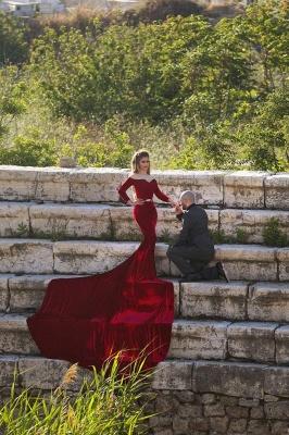 9b5bbcb712ba Long Sleeves Velvet Burgundy Mermaid Prom Dresses Off-Shoulder Belt Long  Train Formal Sexy Evening Gowns [Item Code: D153432528243369]