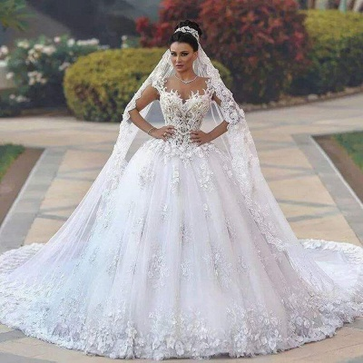 Custom Made Princess Sleeveless Luxurious Lace Wedding Dresses Cheap_4