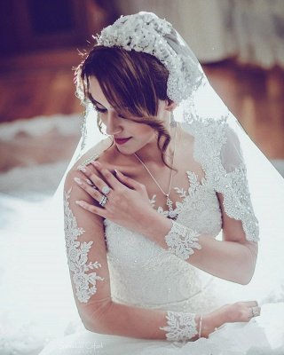 Long Sleeve Lace Wedding Dresses   Ball Gown Long Train See Through Back Bride Dress_3