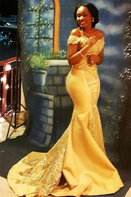 Off The Shoulder Yellow Sparkling Prom Dresses | Mermaid Beads Sequins Formal Gowns Cheap 	FB0335