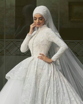 Elegant High Neck Wedding Dresses Cheap Online| Lace Long Sleeve Muslim Bridal Gowns_3