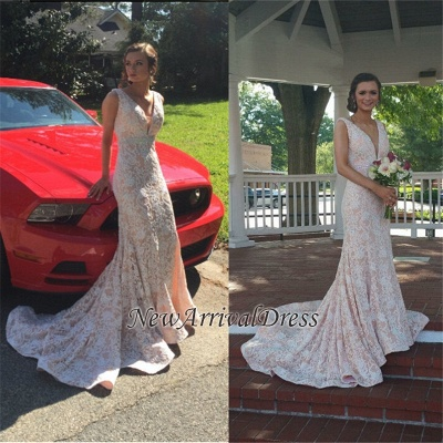 Beautiful Lace Mermaid V-Neck Sleeveless Evening Dress_1