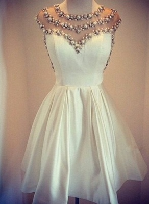 Cap Sleeve Pearls Beaded Vintage Sexy Short Homecoming Dresses Satin Formal Party Dresses_1