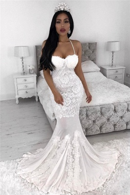 Sexy Straps  Mermaid Wedding Dresses | Lace Appliques  Wedding Gowns Cheap_1