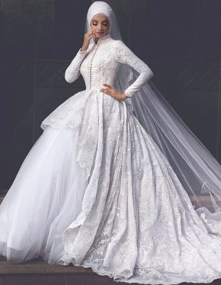 Elegant High Neck Wedding Dresses Cheap Online  Lace Long Sleeve Muslim Bridal Gowns_1