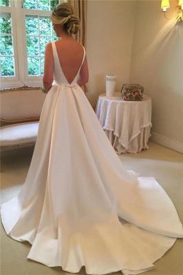 Robes de mariée élégantes en satin | Robe de mariée royale sans manches à dos ouvert_3