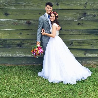 Jewel Lace Cap Sleeve New Arrival A-line  Elegant Sexy Cheap Beading Wedding Dresses_6