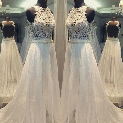 Simple A-line Sleeveless Hollow Scoop Sweep Train Wedding Dresses_3