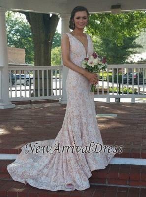 Beautiful Lace Mermaid V-Neck Sleeveless Evening Dress_4