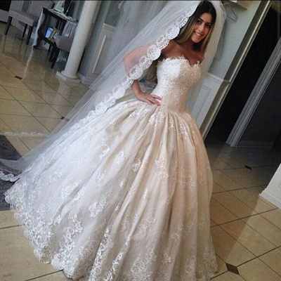 Gorgeous Lace Sweetheart-Neck Princess Ball-Gown Wedding Dresses_2