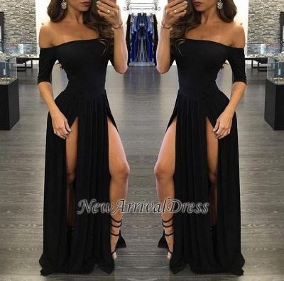 Chiffon Sexy Off-the-shoulder Half-Sleeve Black Split Prom Dress_1