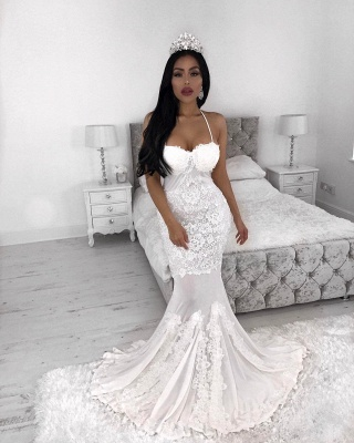 Sexy Straps  Mermaid Wedding Dresses | Lace Appliques  Wedding Gowns Cheap_3