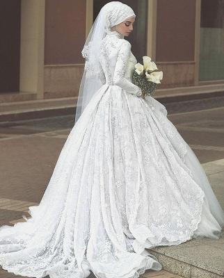 Elegant High Neck Wedding Dresses Cheap Online  Lace Long Sleeve Muslim Bridal Gowns_4