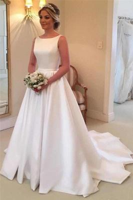 Robes de mariée élégantes en satin | Robe de mariée royale sans manches à dos ouvert_1