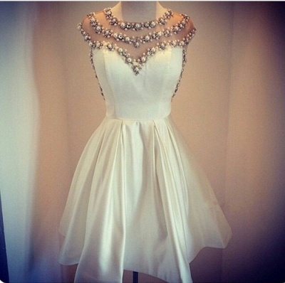 Cap Sleeve Pearls Beaded Vintage Sexy Short Homecoming Dresses Satin Formal Party Dresses_2