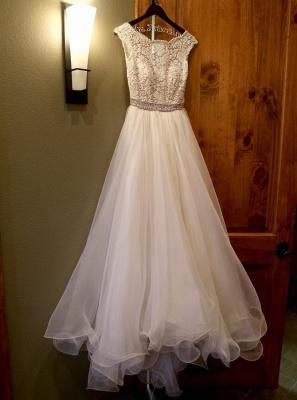 Jewel Lace Cap Sleeve New Arrival A-line  Elegant Sexy Cheap Beading Wedding Dresses_3
