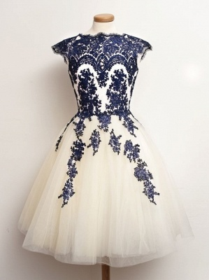 Navy Blue Lace Tulle Short Homecoming Dresses Capped Sleeves Vintage Prom Dresses_1