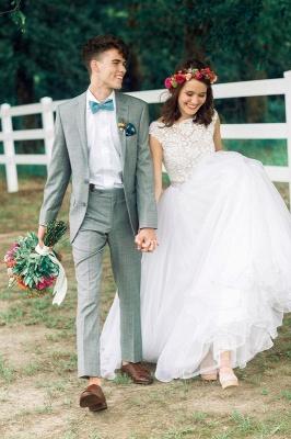 Jewel Lace Cap Sleeve New Arrival A-line  Elegant Sexy Cheap Beading Wedding Dresses_2