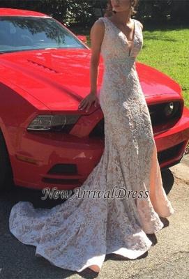 Beautiful Lace Mermaid V-Neck Sleeveless Evening Dress_3