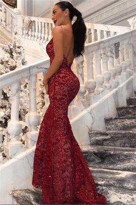 Long Backless Mermaid Sequins Prom Dresses | Cheap Red V-Neck Sleeveless Formal Dress BC0989_1