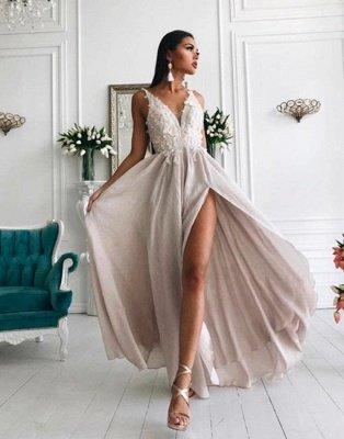 Sexy Slit V-neck Lace Chiffon Long Formal Dresses Cheap_2
