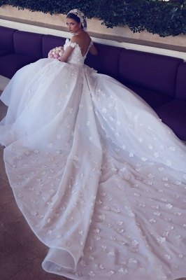 Luxurious Princess Ball Gown Wedding Dresses | Puffy Tulle Off The Shoulder Bridal Gowns with Appliques_3