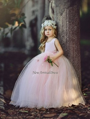 Ball-Gown Flower Cute Long Pink Girl Dresses