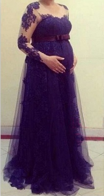 Purple Pregnant Women Party Dresses Long Sleeves Maternity Formal Evening Gowns_1