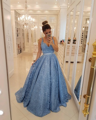 Popular V-neck Lace Long Formal Dresses | Sleeveless Beading Straps Cheap Prom Dresses BMT309_3