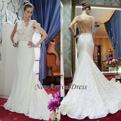 Gorgeous Mermaid Backless New Arrival Sleeveless Wedding Dress Cheap_1