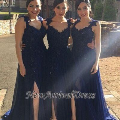 A-line Side-Slit Lace-Appliques Navy-Blue Chiffon Bridesmaid Dresses_1