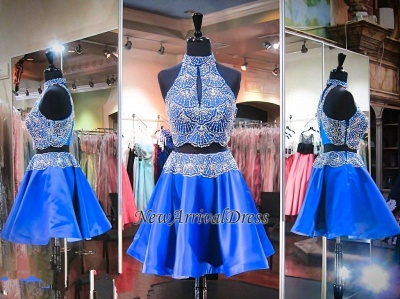 High Neck Sleeveless Beads Two Piece Mini Delicate Sexy Short Homecoming Dresses_1