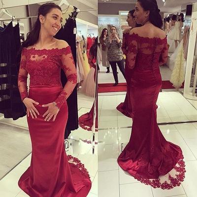 Delicate Mermaid Long Sleeve Lace Appliques Zipper Prom Dress   Plus Size Prom Dress_3