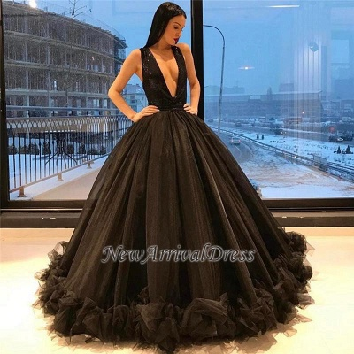 Puffy Sequins Deep-V-Neck Sexy Tulle Ruffles Sparkling Sleeveless Black Evening Gown_1