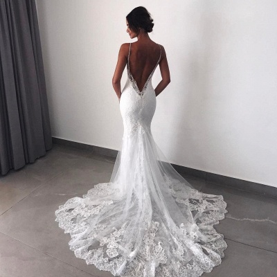 Backless Wedding Dresses Lace Mermaid Cheap |  Sexy Spaghetti Straps Bridal Gowns_5
