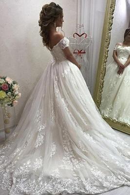 Schulterfrei Spitzen Brautkleider Online Billig | Cheap Sexy Brautkleid aus geschwollenem Tüll_3